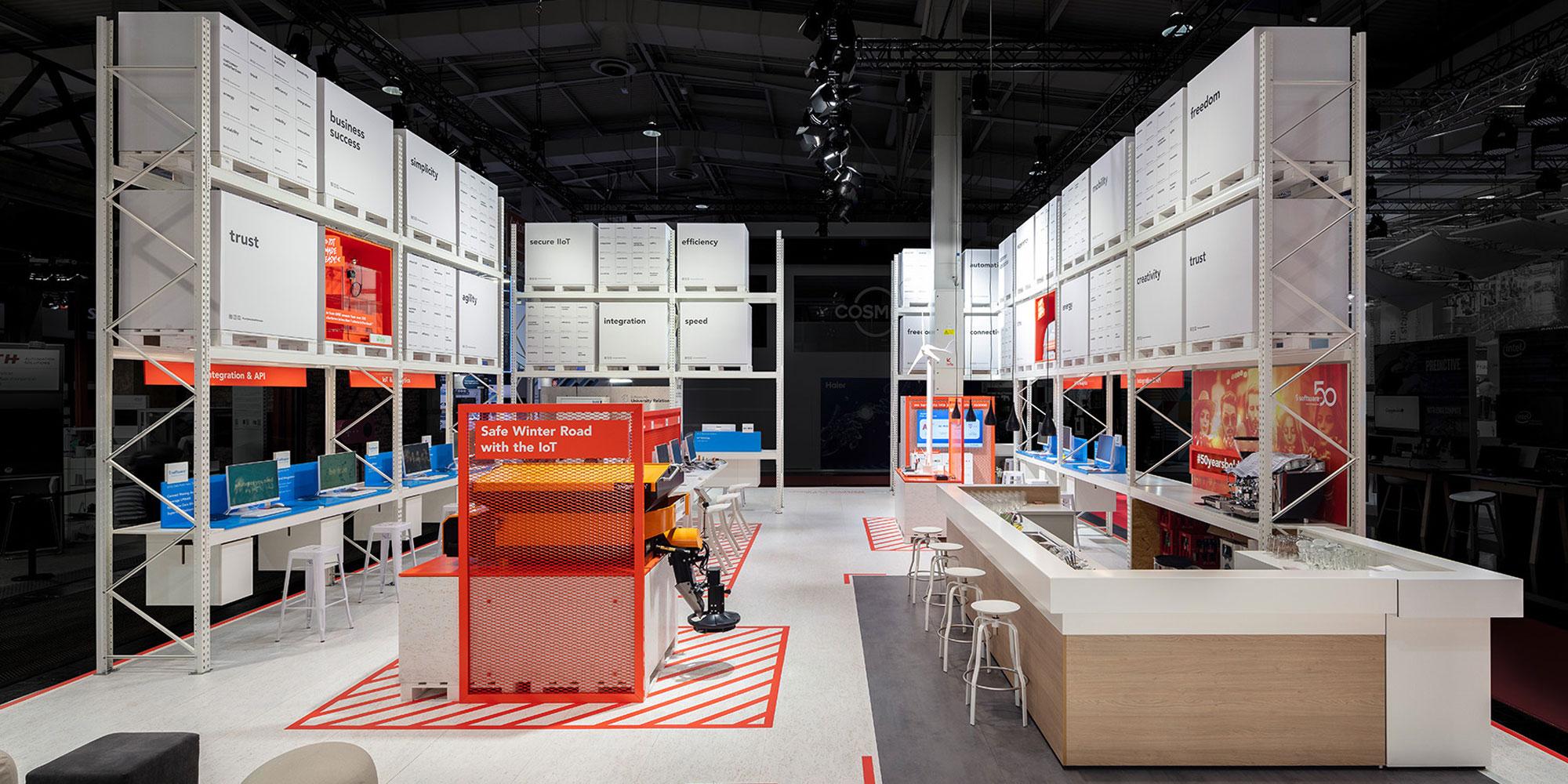 Messestand von Software AG auf der HMI 2019 in Hannover Deutschland Europe - Tünnissen Interiors, Messen, Events und Ausstellungen NRW Deutschland Europe